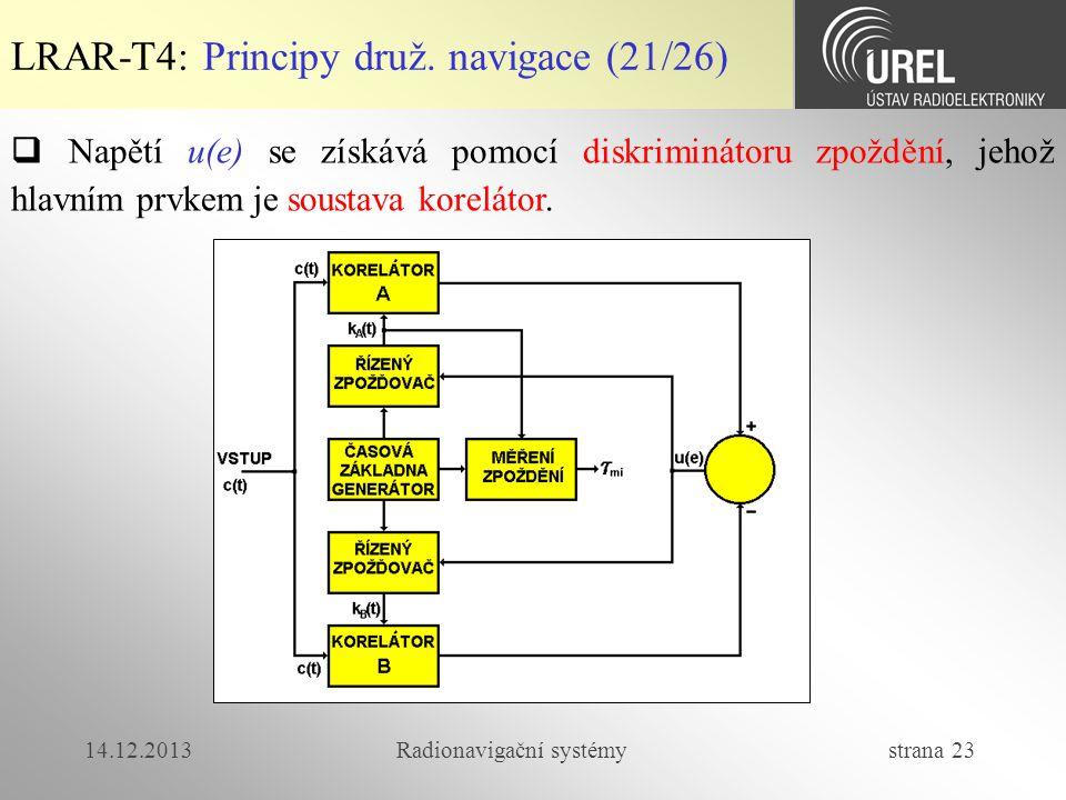 14.12.2013Radionavigační systémy strana 23 LRAR-T4: Principy druž. navigace (21/26)  Napětí u(e) se získává pomocí diskriminátoru zpoždění, jehož hla