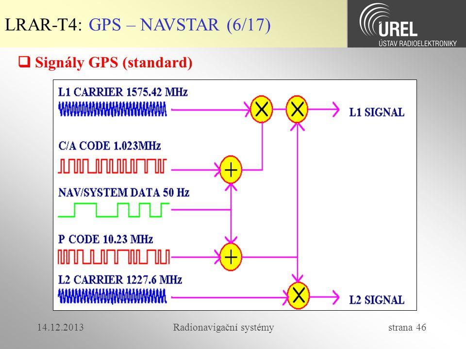 14.12.2013Radionavigační systémy strana 46 LRAR-T4: GPS – NAVSTAR (6/17)  Signály GPS (standard)