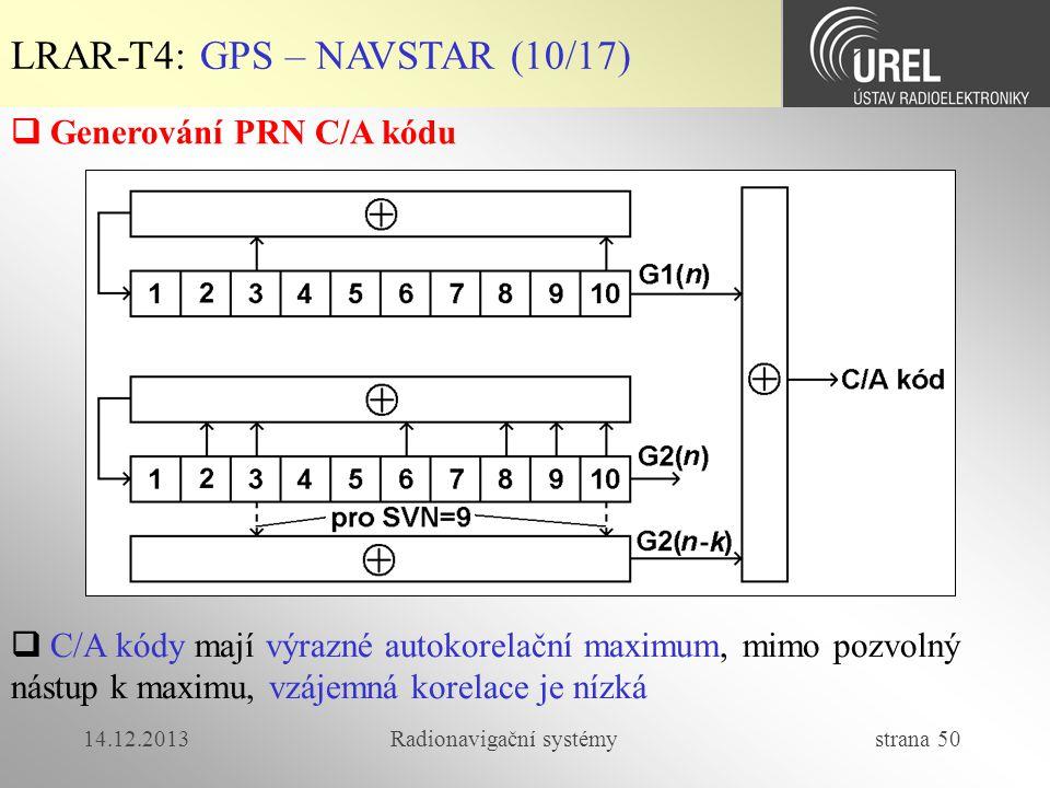 14.12.2013Radionavigační systémy strana 50 LRAR-T4: GPS – NAVSTAR (10/17)  Generování PRN C/A kódu  C/A kódy mají výrazné autokorelační maximum, mim