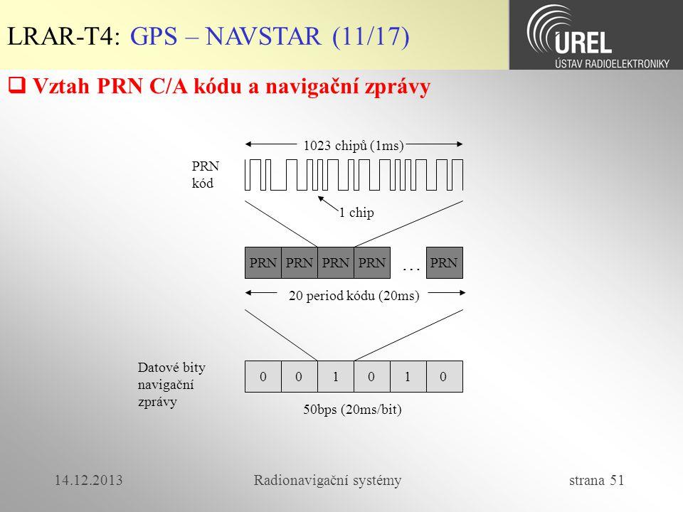 14.12.2013Radionavigační systémy strana 51 1023 chipů (1ms) PRN kód PRN 0 20 period kódu (20ms) … 01100 Datové bity navigační zprávy 50bps (20ms/bit)