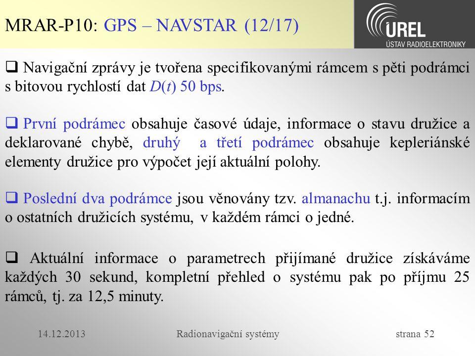 14.12.2013Radionavigační systémy strana 52 MRAR-P10: GPS – NAVSTAR (12/17)  Navigační zprávy je tvořena specifikovanými rámcem s pěti podrámci s bito