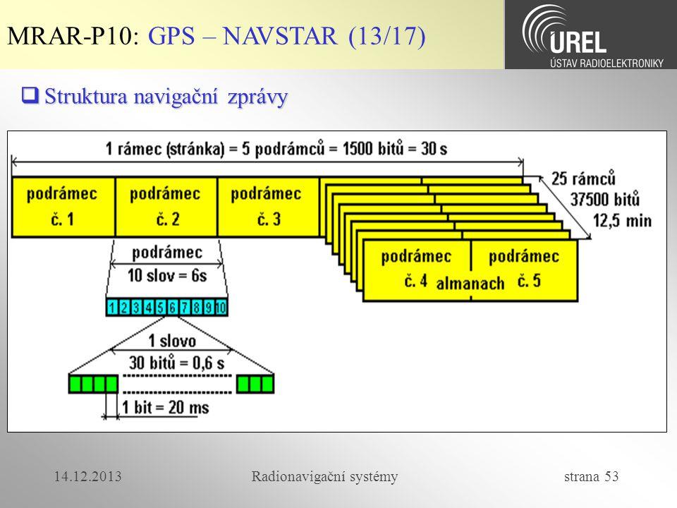 14.12.2013Radionavigační systémy strana 53 MRAR-P10: GPS – NAVSTAR (13/17)  Struktura navigační zprávy