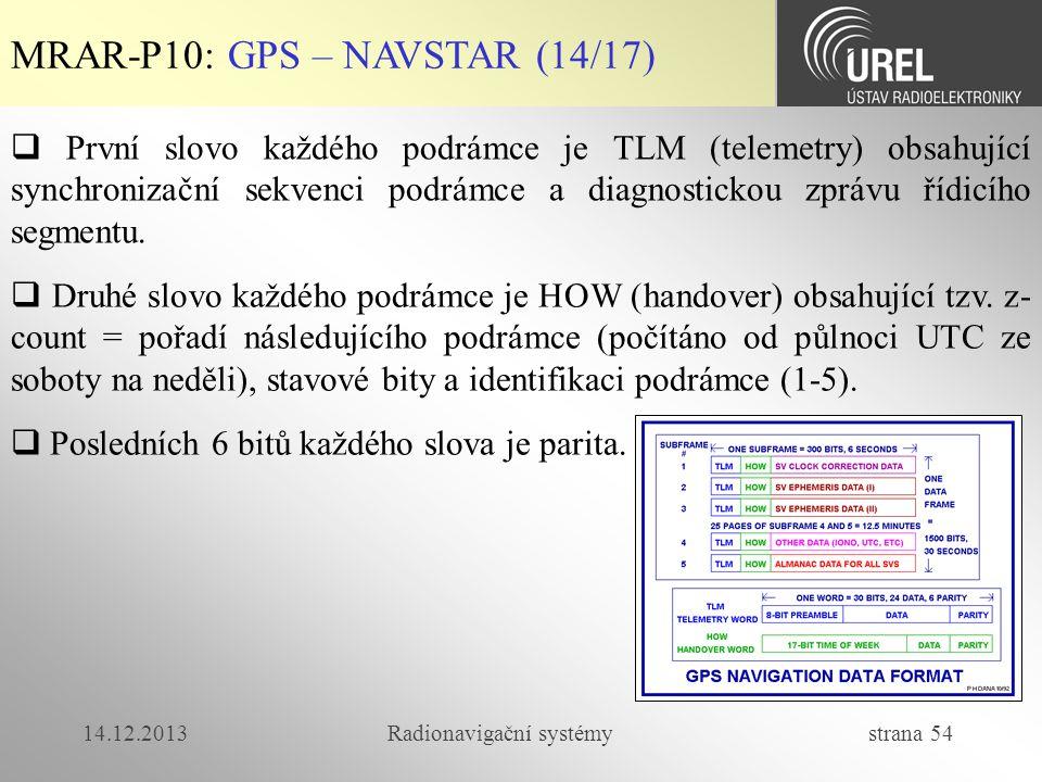 14.12.2013Radionavigační systémy strana 54 MRAR-P10: GPS – NAVSTAR (14/17)  První slovo každého podrámce je TLM (telemetry) obsahující synchronizační