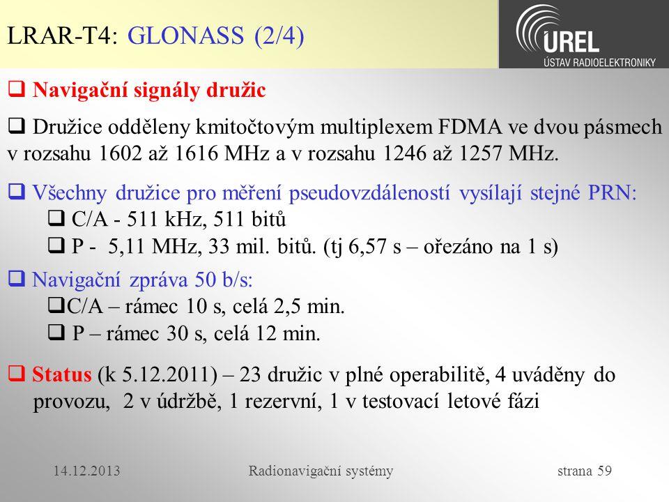 14.12.2013Radionavigační systémy strana 59 LRAR-T4: GLONASS (2/4)  Navigační signály družic  Všechny družice pro měření pseudovzdáleností vysílají s