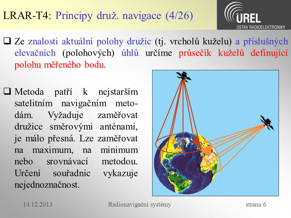 14.12.2013Radionavigační systémy strana 37 LRAR-T4: Přesnost měření polohy (2/5)  Chyba w i je dána  vícecestným šířením  S/N při korelačním zpracování v diskriminátoru zpoždění  zbytkovým ionosferickým zpožděním  zbytkovým troposferickým zpožděním  nepřesně definovanou polohou družice (kepleriány)  nepřesnost systémových hodin  nepřesností ve výpočtech (zaokrouhlování, metody řešení tran- scendentních rovnic, aproximace)  zavedením záměrného znepřesňování  Chyby měření vzdáleností jsou pro jednotlivé družice nekorelované a všechny mají stejný rozptyl σ d 2.