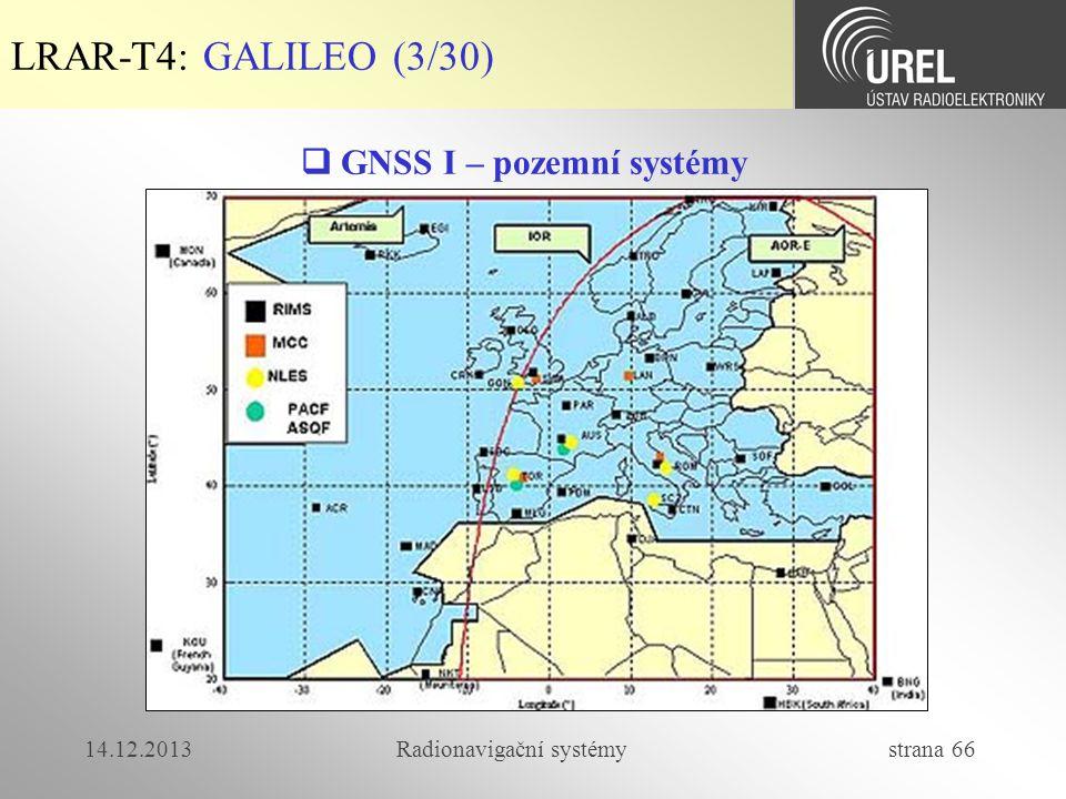 14.12.2013Radionavigační systémy strana 66 LRAR-T4: GALILEO (3/30)  GNSS I – pozemní systémy