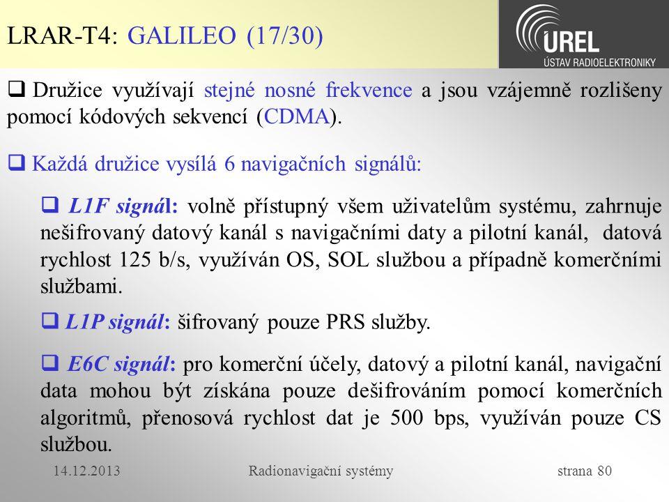 14.12.2013Radionavigační systémy strana 80 LRAR-T4: GALILEO (17/30)  Družice využívají stejné nosné frekvence a jsou vzájemně rozlišeny pomocí kódový