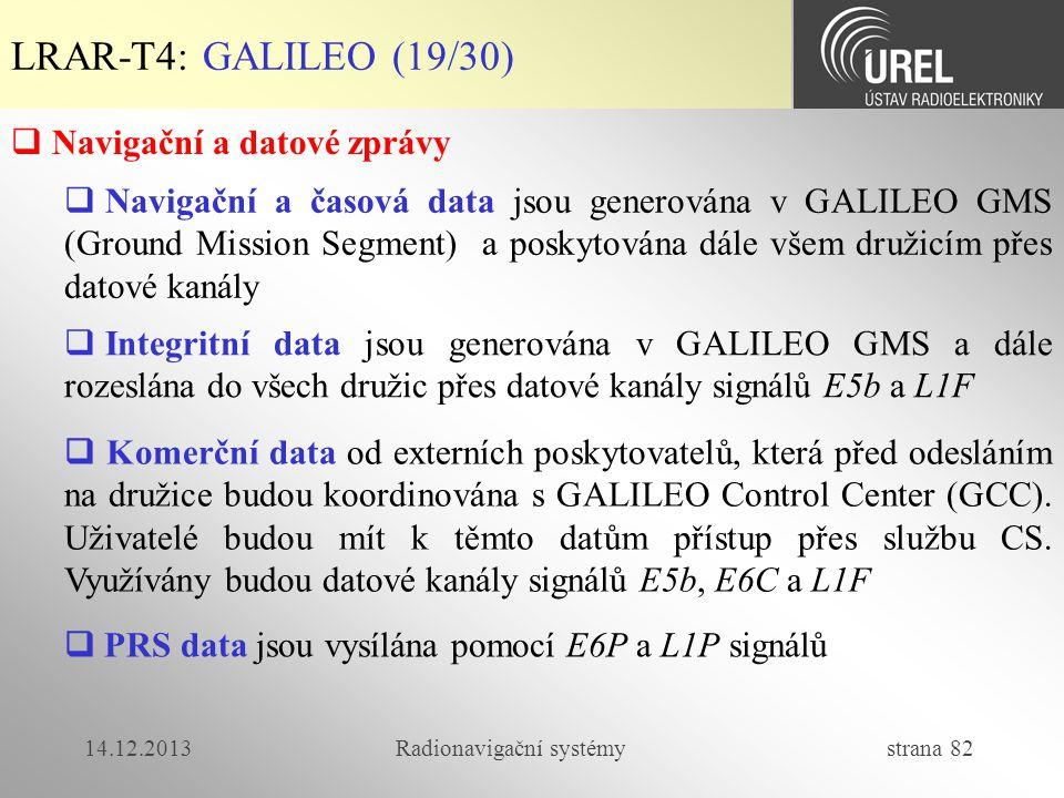 14.12.2013Radionavigační systémy strana 82 LRAR-T4: GALILEO (19/30)  Navigační a datové zprávy  Navigační a časová data jsou generována v GALILEO GM