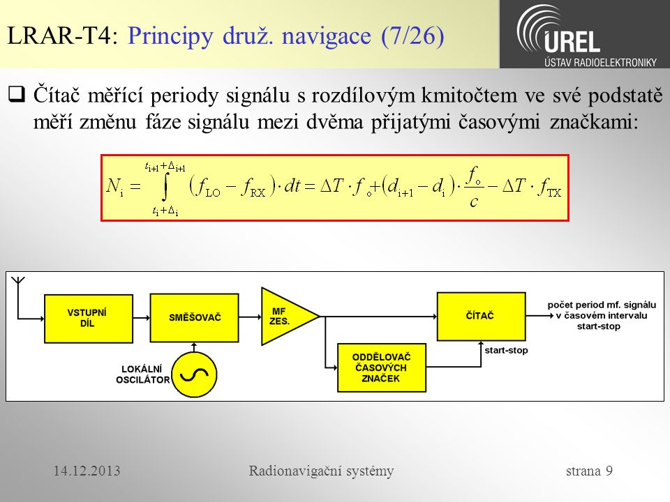 14.12.2013Radionavigační systémy strana 100 LRAR-T4: GNSS přijímače (2/7)  Navigační přijímač tvoří  vstupní jednotka  časová základna, která navigační přijímač řídí  jeden nebo několik meřících přijímačů  Měřící přijímač zpracovává signál tak, abychom získali zdánlivé vzdálenosti a data tvořící navigační zprávu, kterou družice vysílá.
