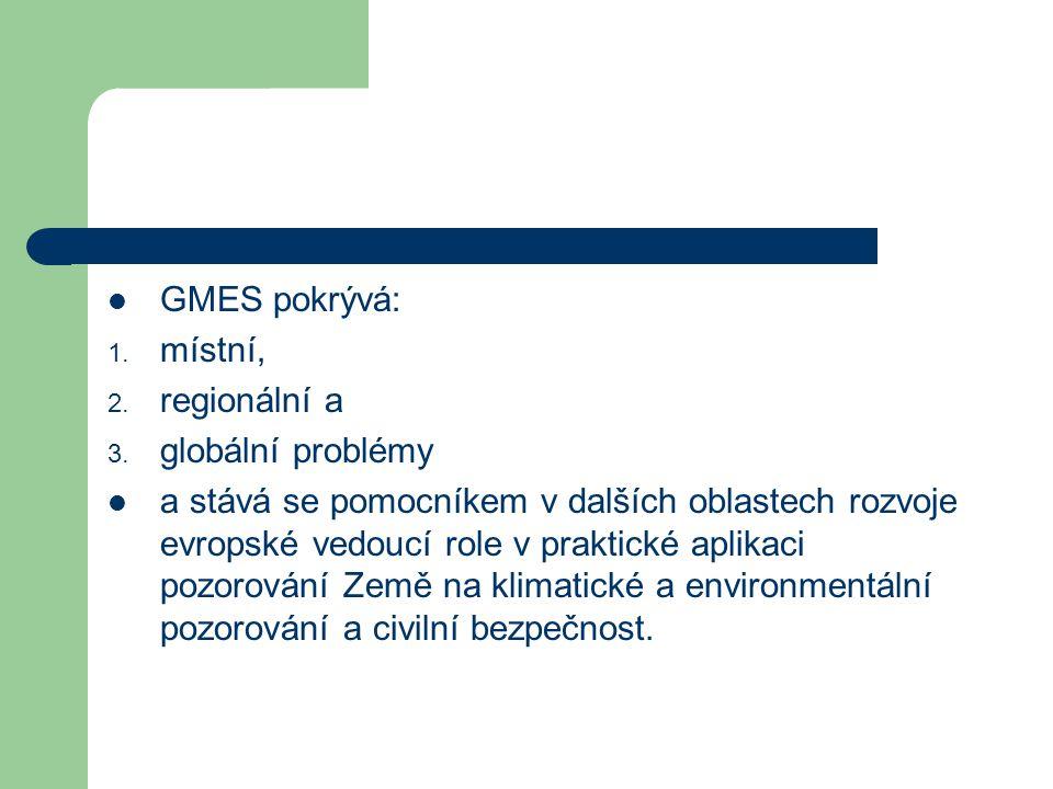 GMES pokrývá: 1. místní, 2. regionální a 3.