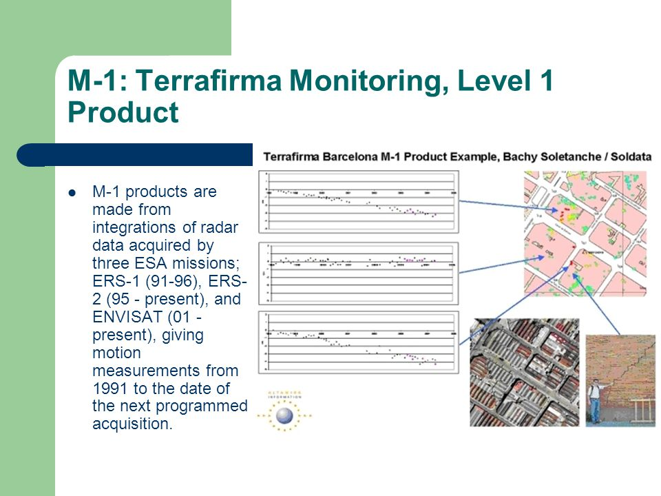 M-1: Terrafirma Monitoring, Level 1 Product M-1 products are made from integrations of radar data acquired by three ESA missions; ERS-1 (91-96), ERS-