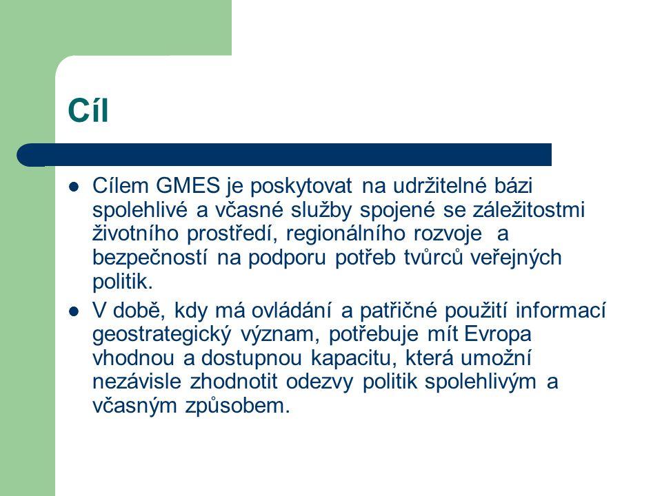 Cíl Cílem GMES je poskytovat na udržitelné bázi spolehlivé a včasné služby spojené se záležitostmi životního prostředí, regionálního rozvoje a bezpečností na podporu potřeb tvůrců veřejných politik.