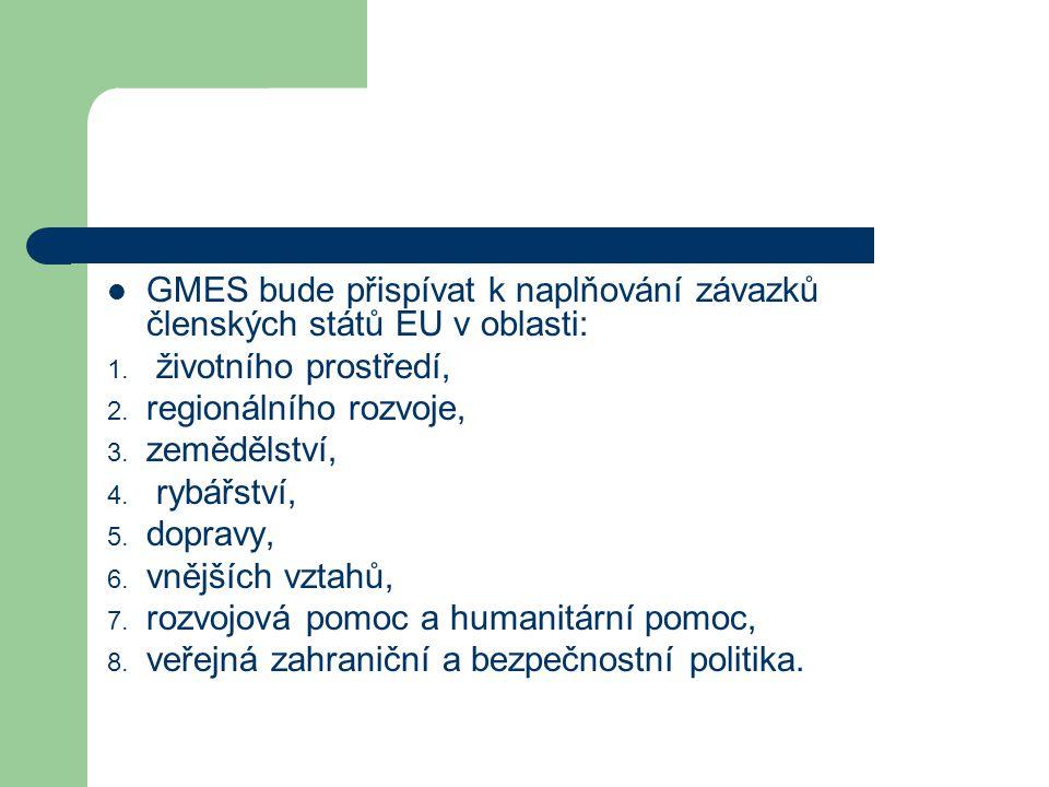 GMES bude přispívat k naplňování závazků členských států EU v oblasti: 1.