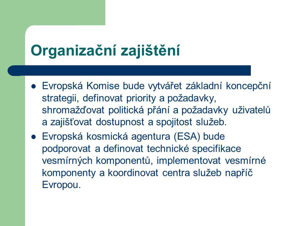 Organizační zajištění Evropská Komise bude vytvářet základní koncepční strategii, definovat priority a požadavky, shromažďovat politická přání a požadavky uživatelů a zajišťovat dostupnost a spojitost služeb.