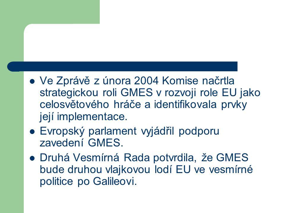 Ve Zprávě z února 2004 Komise načrtla strategickou roli GMES v rozvoji role EU jako celosvětového hráče a identifikovala prvky její implementace.