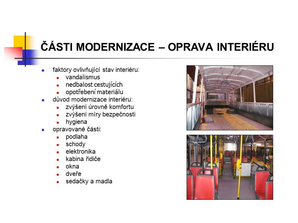 ČÁSTI MODERNIZACE – OPRAVA INTERIÉRU faktory ovlivňující stav interiéru: vandalismus nedbalost cestujících opotřebení materiálu důvod modernizace inte