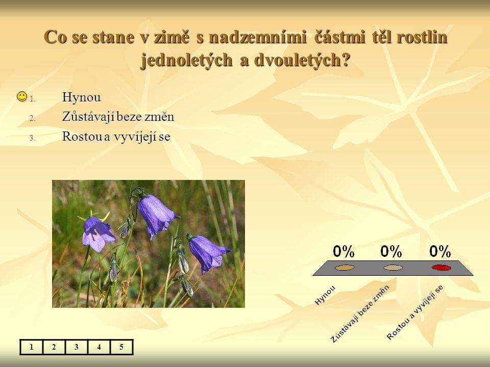 Co se stane v zimě s nadzemními částmi těl rostlin jednoletých a dvouletých? 12345 1. Hynou 2. Zůstávají beze změn 3. Rostou a vyvíjejí se