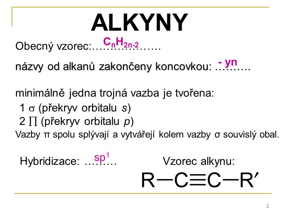 23 Soli – vznik odtržením ……………..z …………… Typy acetylidů: a)Acetylidy …………………………….