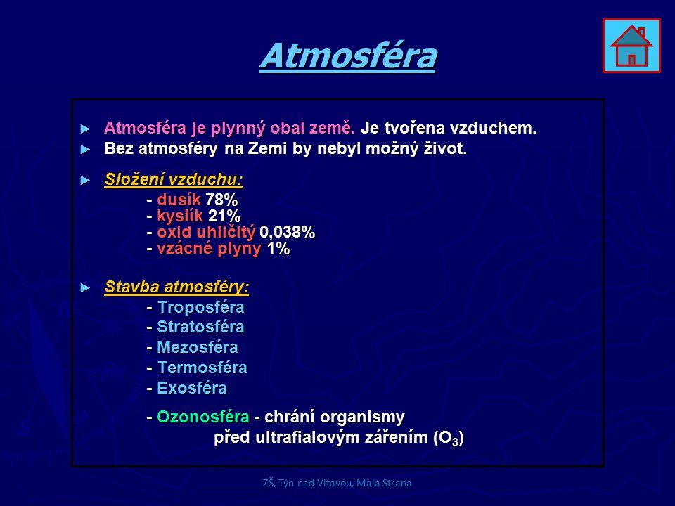 Atmosféra ► Atmosféra je plynný obal země. Je tvořena vzduchem. ► Bez atmosféry na Zemi by nebyl možný život. ► Složení vzduchu: - dusík 78% - kyslík