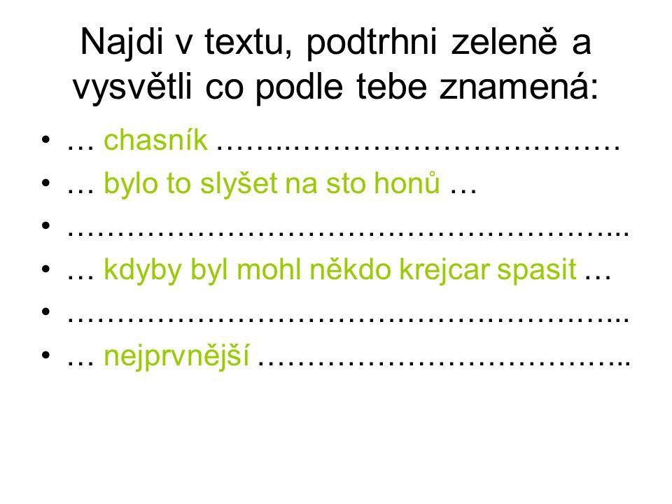 Najdi v textu, podtrhni zeleně a vysvětli co podle tebe znamená: … chasník ……..…………………………… … bylo to slyšet na sto honů … ………………………………………………... … kdyb