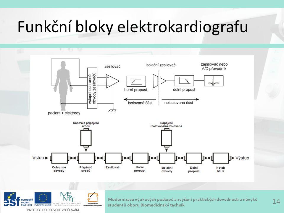 Modernizace výukových postupů a zvýšení praktických dovedností a návyků studentů oboru Biomedicínský technik Funkční bloky elektrokardiografu 14