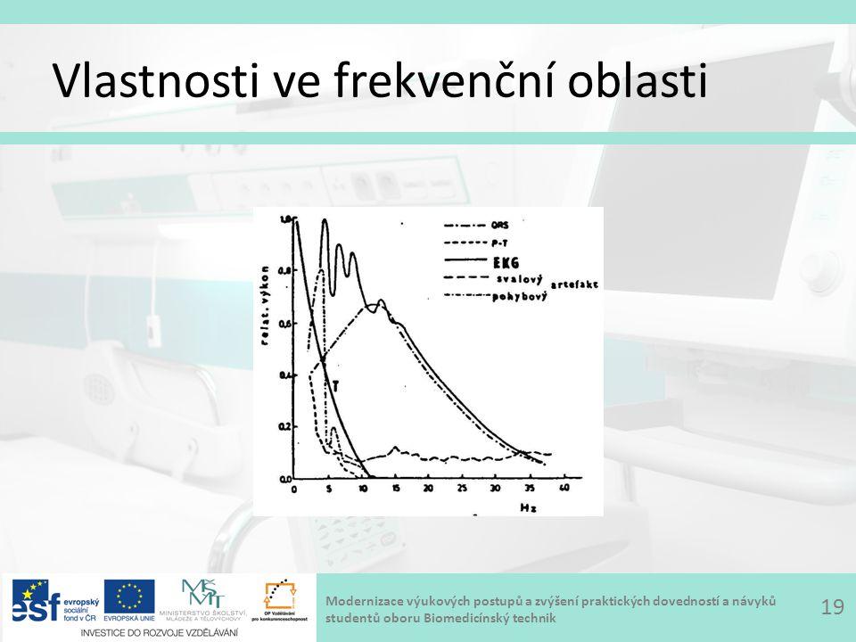 Modernizace výukových postupů a zvýšení praktických dovedností a návyků studentů oboru Biomedicínský technik Vlastnosti ve frekvenční oblasti 19