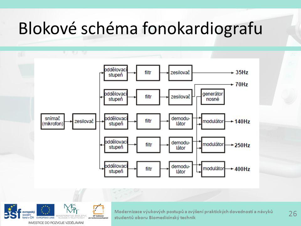 Modernizace výukových postupů a zvýšení praktických dovedností a návyků studentů oboru Biomedicínský technik Blokové schéma fonokardiografu 26