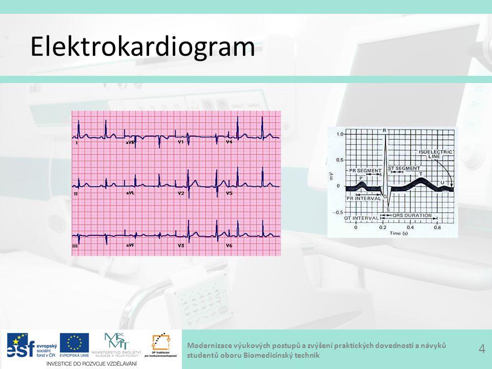 Modernizace výukových postupů a zvýšení praktických dovedností a návyků studentů oboru Biomedicínský technik Fonokardiograf Fonokardiograf – přístroj, který pomocí mikrofonu snímá akustický signál vznikající při činnosti srdce a provádí jeho částečnou analýzu doplňkové zařízení k elektrokardiografu zvuky a šelesty – amplitudově modulovaný signál (obálka vibrací – diagn.