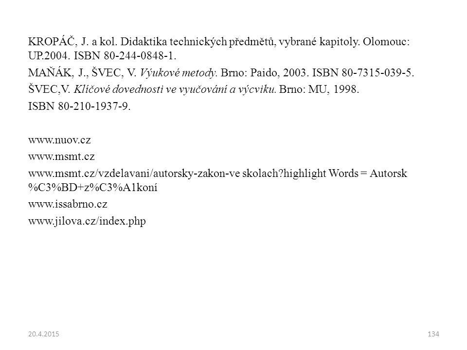 KROPÁČ, J. a kol. Didaktika technických předmětů, vybrané kapitoly. Olomouc: UP.2004. ISBN 80-244-0848-1. MAŇÁK, J., ŠVEC, V. Výukové metody. Brno: Pa