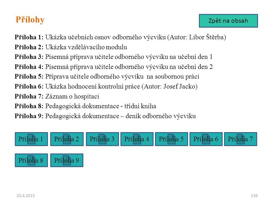 Přílohy Příloha 1: Ukázka učebních osnov odborného výcviku (Autor: Libor Štěrba) Příloha 2: Ukázka vzdělávacího modulu Příloha 3: Písemná příprava uči