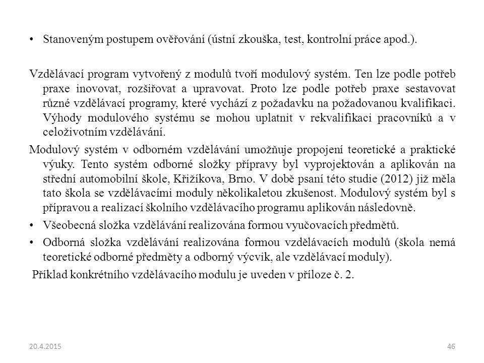 Stanoveným postupem ověřování (ústní zkouška, test, kontrolní práce apod.).