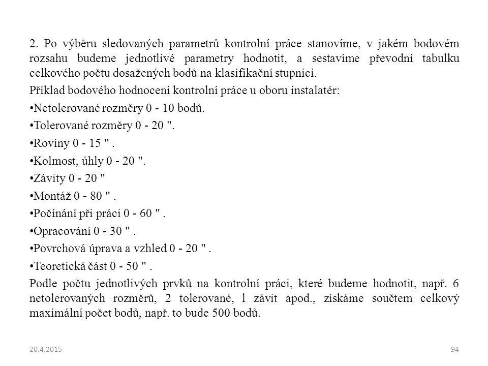 2. Po výběru sledovaných parametrů kontrolní práce stanovíme, v jakém bodovém rozsahu budeme jednotlivé parametry hodnotit, a sestavíme převodní tabul