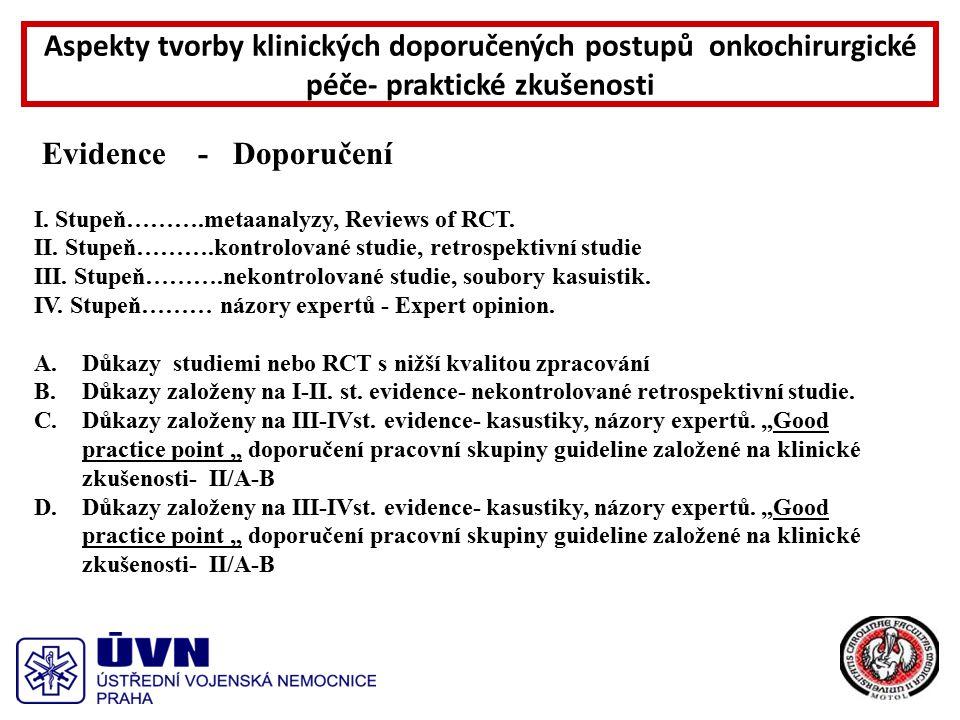 Evidence - Doporučení I. Stupeň……….metaanalyzy, Reviews of RCT.