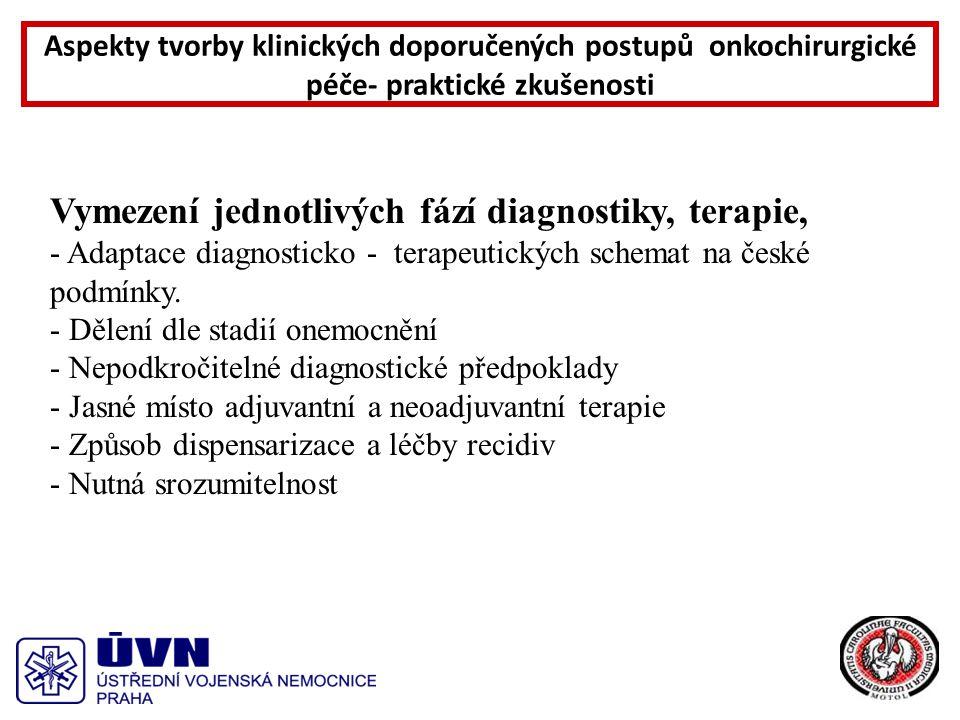 Vymezení jednotlivých fází diagnostiky, terapie, - Adaptace diagnosticko - terapeutických schemat na české podmínky.