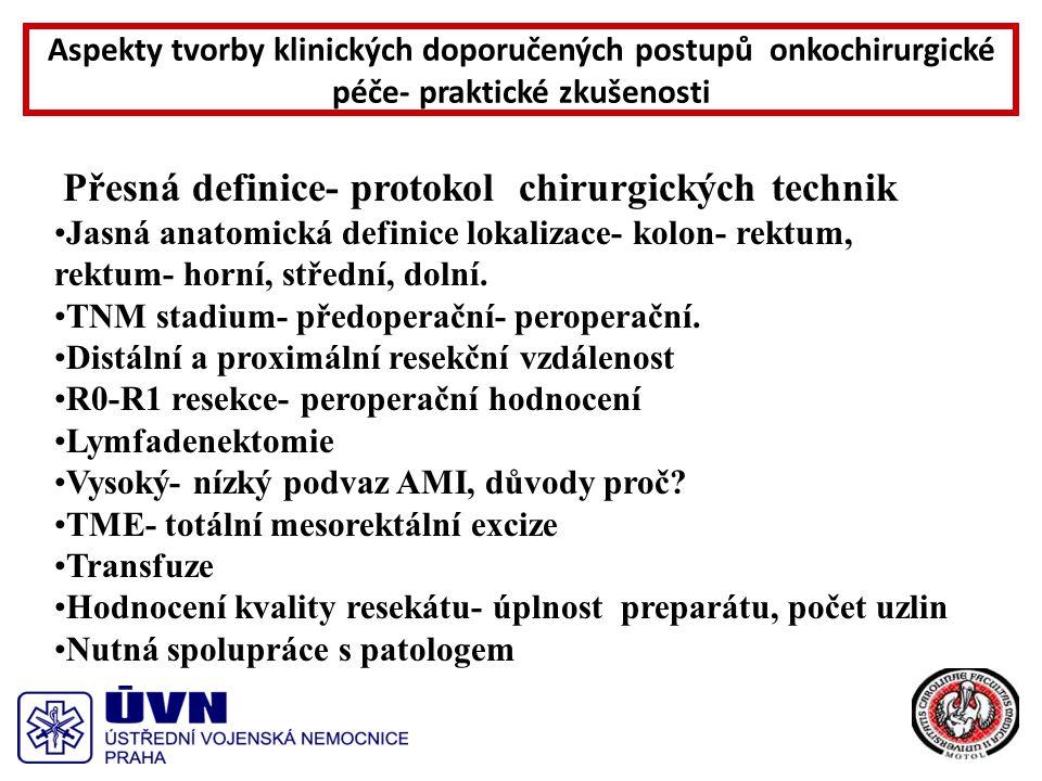 Přesná definice- protokol chirurgických technik Jasná anatomická definice lokalizace- kolon- rektum, rektum- horní, střední, dolní.