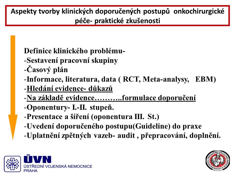 Definice klinického problému- -Sestavení pracovní skupiny -Časový plán -Informace, literatura, data ( RCT, Meta-analysy, EBM) -Hledání evidence- důkazů -Na základě evidence………..formulace doporučení -Oponentury- I.-II.