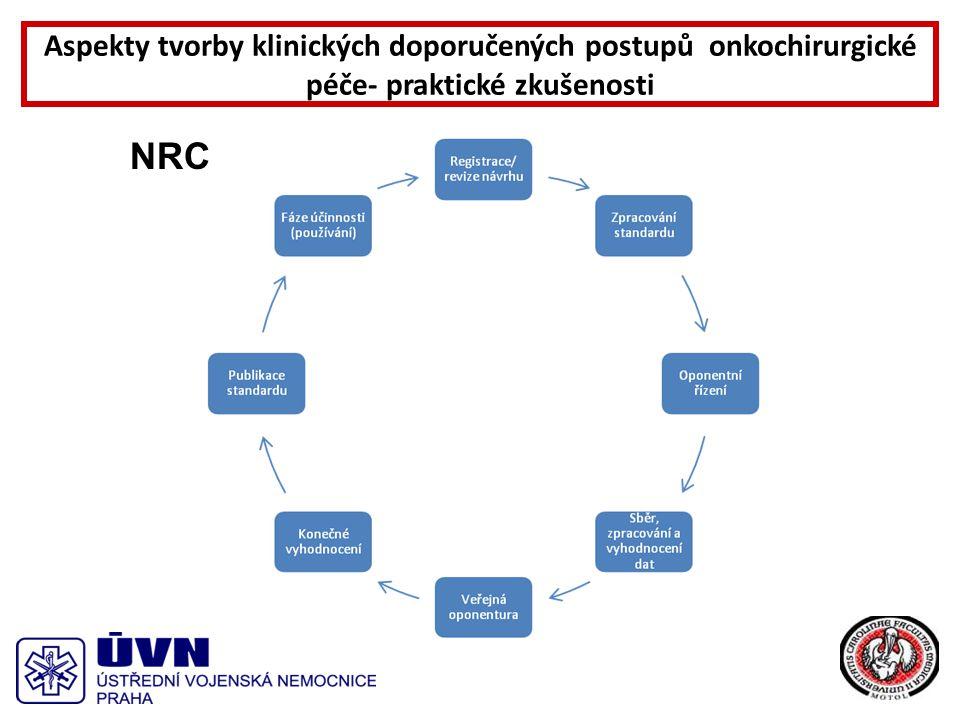 2008- 2009 -první kontakty s NRC -seznámení s metodikou vývoje standardu -sjednocení pojmů - tvorba prvních KDP / klinických doporučených postupů/ 2010 - Formulace Onkochirurgických KDP a zahájení spolupráce s dalšími odbornými společnostmi- Onkologická, Gastroenterologická, Radioterapie.