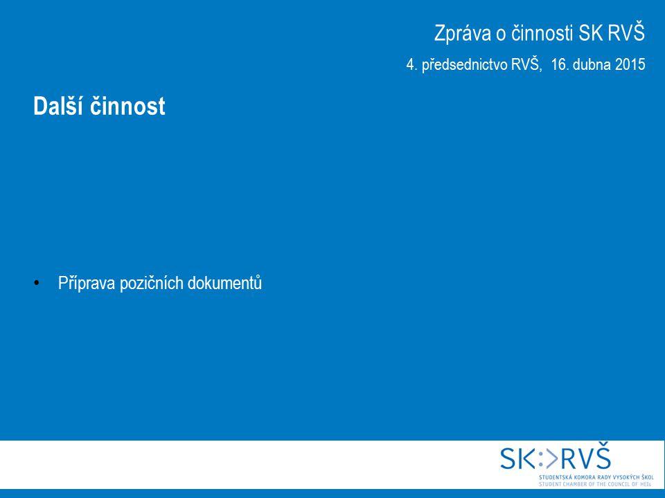 Příprava pozičních dokumentů Zpráva o činnosti SK RVŠ 4.