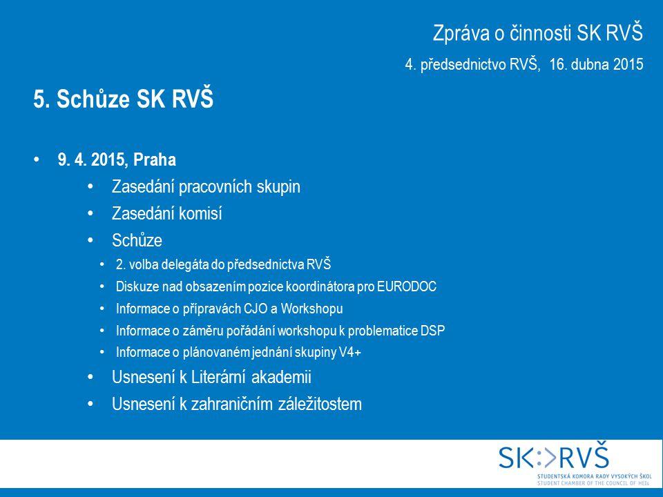 9. 4. 2015, Praha Zasedání pracovních skupin Zasedání komisí Schůze 2.