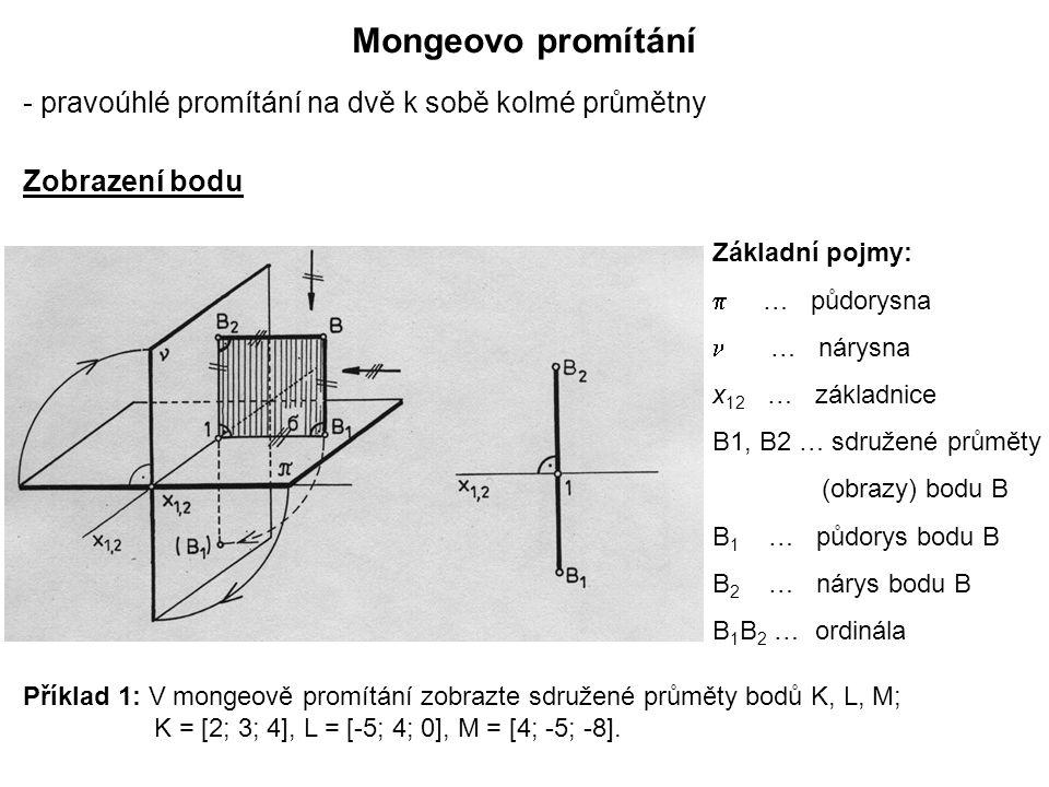 Mongeovo promítání - pravoúhlé promítání na dvě k sobě kolmé průmětny Základní pojmy:  … půdorysna … nárysna x 12 … základnice B1, B2 … sdružené prům