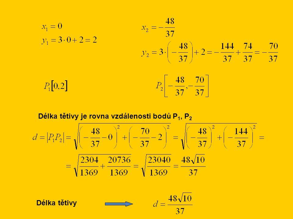 Délka tětivy je rovna vzdálenosti bodů P 1, P 2 Délka tětivy