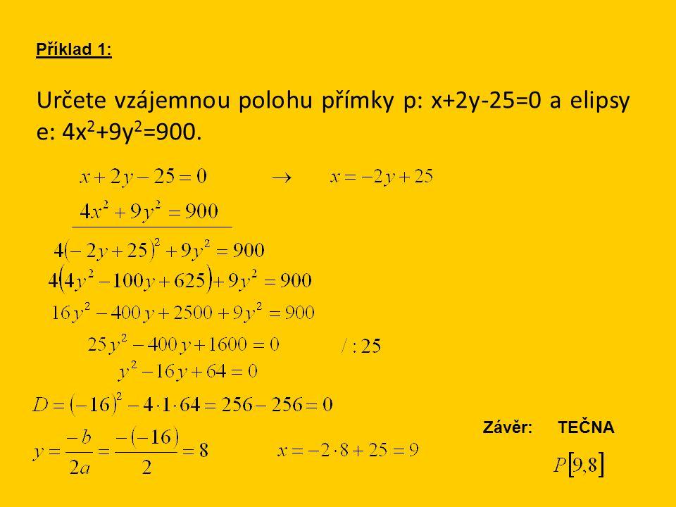 Určete vzájemnou polohu přímky p: x+2y-25=0 a elipsy e: 4x 2 +9y 2 =900. Příklad 1: Závěr: TEČNA