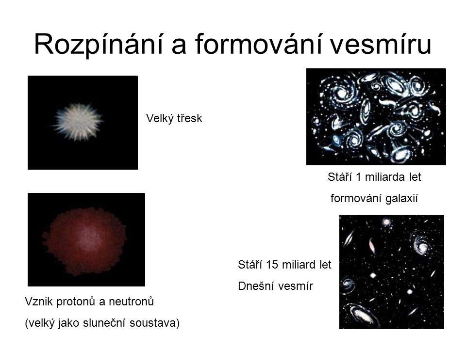 Rozpínání a formování vesmíru Velký třesk Vznik protonů a neutronů (velký jako sluneční soustava) Stáří 1 miliarda let formování galaxií Stáří 15 mili