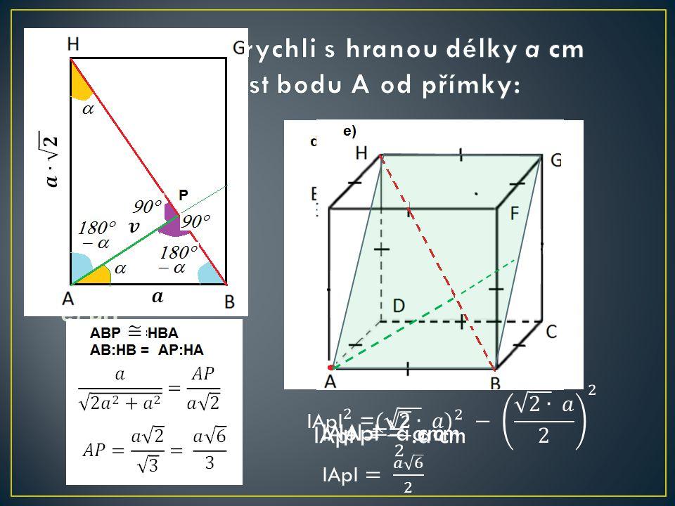 a) CD b) BD c) EF d) FH e) BH IApI = a cm