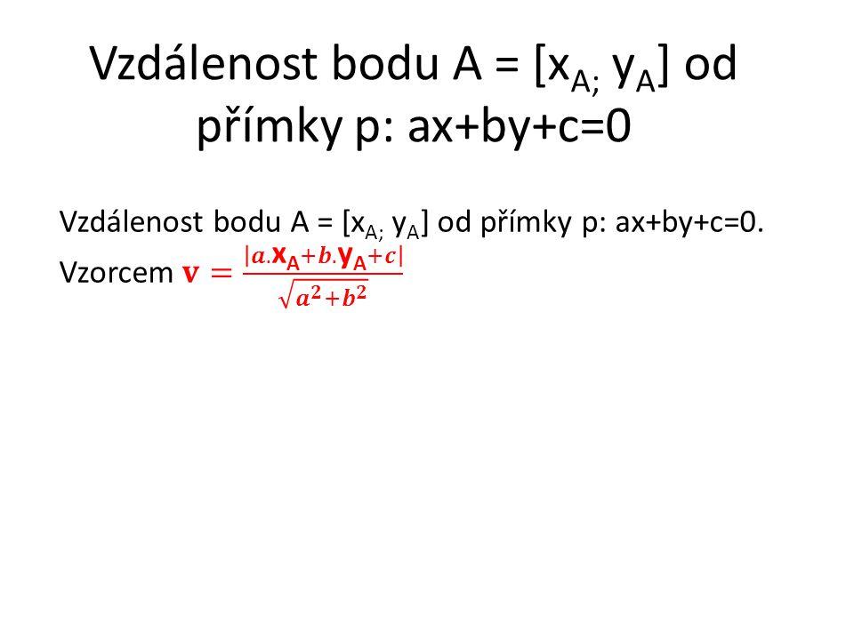 Vzdálenost bodu A = [5 ; 12] od přímky p: 2x+7y+3=0.