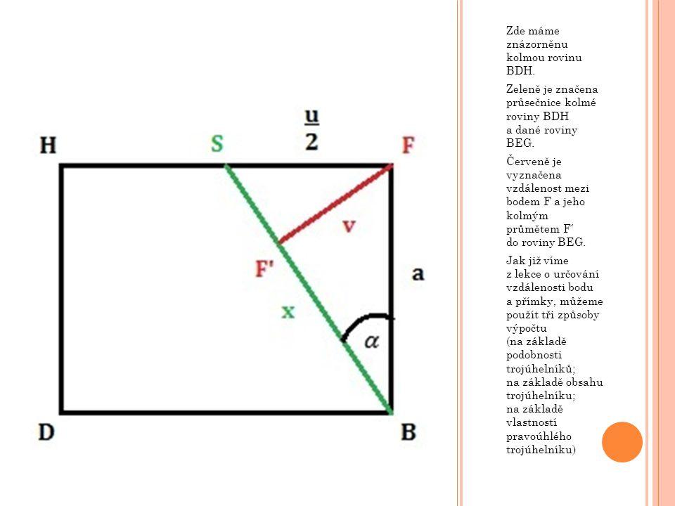 Zde máme znázorněnu kolmou rovinu BDH. Zeleně je značena průsečnice kolmé roviny BDH a dané roviny BEG. Červeně je vyznačena vzdálenost mezi bodem F a