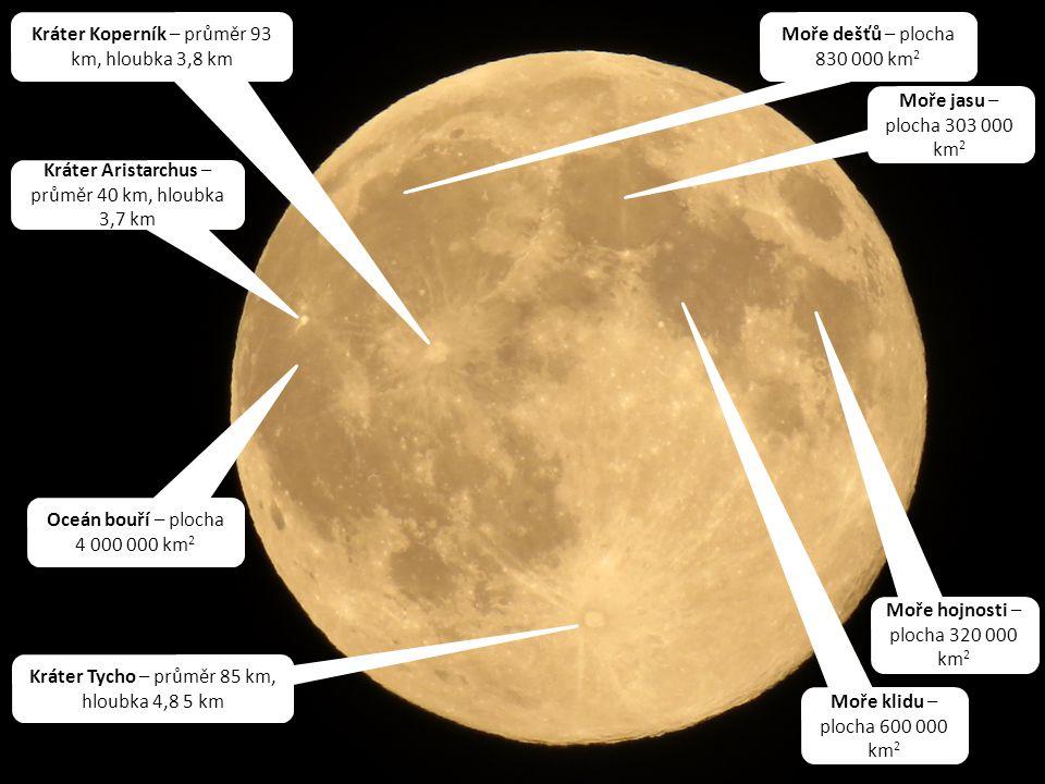 Zoom digitální 100x = ohnisková vzdálenost 2400 mm Kráter Tycho – průměr 85 km, hloubka 4,8 5 km Kráter Koperník – průměr 93 km, hloubka 3,8 km Kráter Aristarchus – průměr 40 km, hloubka 3,7 km Oceán bouří – plocha 4 000 000 km 2 Moře dešťů – plocha 830 000 km 2 Moře jasu – plocha 303 000 km 2 Moře klidu – plocha 600 000 km 2 Moře hojnosti – plocha 320 000 km 2