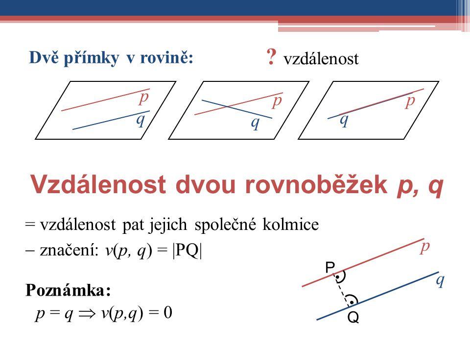 = vzdálenost pat jejich společné kolmice  značení: v(p, q) = |PQ| Vzdálenost dvou rovnoběžek p, q ● Q q p P p q p q p q Dvě přímky v rovině: ? vzdále