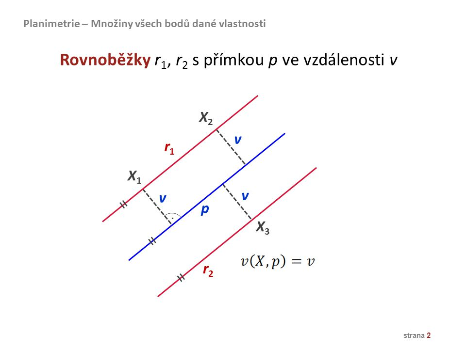 strana 2 X1X1 X2X2 X3X3 p r2r2 v v v r1r1 Rovnoběžky r 1, r 2 s přímkou p ve vzdálenosti v Planimetrie – Množiny všech bodů dané vlastnosti = = =