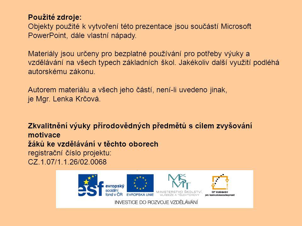 Použité zdroje: Objekty použité k vytvoření této prezentace jsou součástí Microsoft PowerPoint, dále vlastní nápady. Materiály jsou určeny pro bezplat